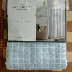 Threshold Blue Honeycomb Bathroom Shower Curtain